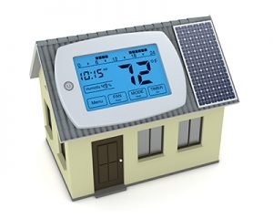 one digital programmable thermostat with a house and solar panel, concept of renewable energy (3d render)